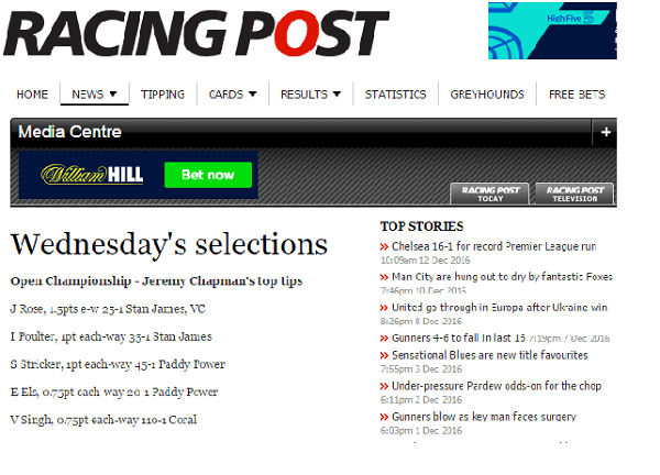 Golf Betting Tips On Racing Post