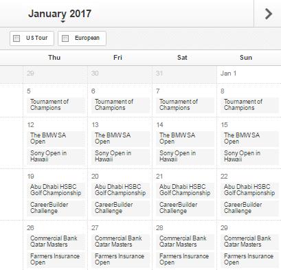 Golf Betting Zone Calendar