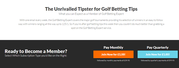 Golf Tipster subscription