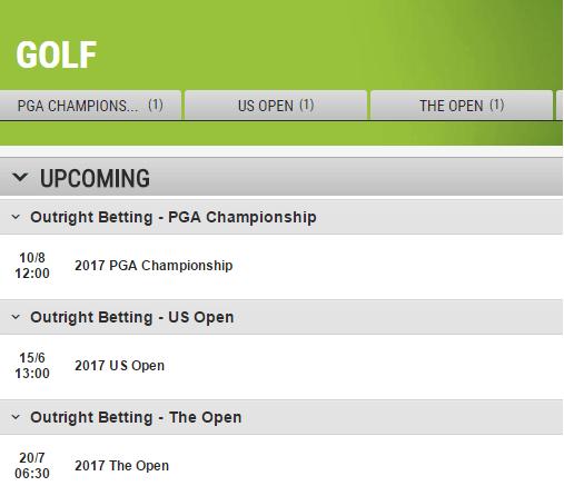 Latest Golf Odds