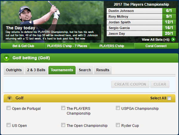 Live Golf Odds Betting