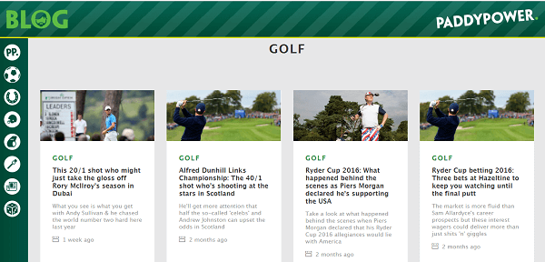 Paddy Power Golf Betting information