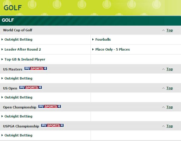 Paddy Power Golf Betting
