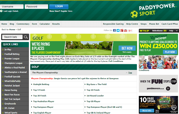 Paddy Power Golf Odds